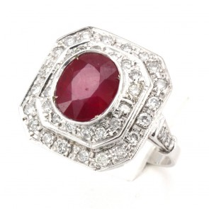 Anello toppa rubino - 3-3.5 ct - e diamanti - 0.90 ct; 6.68 gr