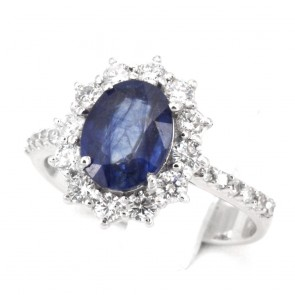 Anello margherita zaffiro - 2.5 ct - e diamanti - 0.98 ct; 4.95 gr