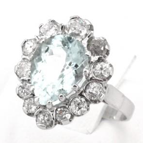 Anello goccia oro, acquamarina - 3 ct - e diamanti - 1.05-1.15 ct; 5.95 gr
