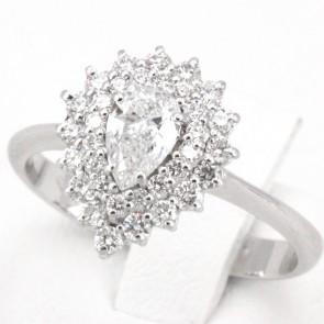 Anello goccia oro e diamanti -1.23 ct; 3.34 gr