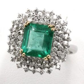 Anello maxi oro, diamanti - 1.15 ct- e smeraldo - 3.75 ct; 6.65 gr