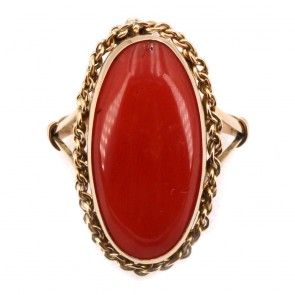 Anello ovale allungato in stile corallo e oro