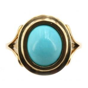 Anello oro e turchese ovale cabochon