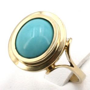 Anello oro e turchese ovale cabochon - 6.2 gr
