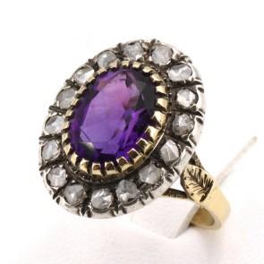 Anello toppa in stile oro, ametista e diamanti - 0.30-0.40; 7.56 gr