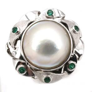 Anello maxi oro, perla mabè e smeraldi