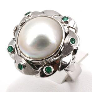 Anello maxi oro, perla mabè e smeraldi - 0.15 ct; 15 gr