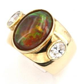 Anello fascia in oro opale arancio e zirconi; 12.15 gr