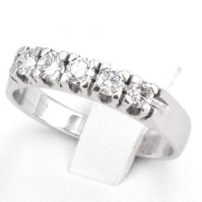 Anello riviera oro e 5 diamanti -0.50-0.55 ct; 3.95 gr