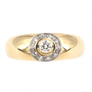 Anello fascia solitario in oro diamanti