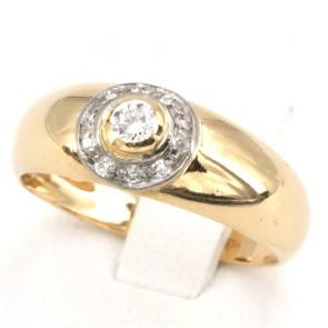 Anello fascia solitario in oro diamanti -0.13-0.15 ct
