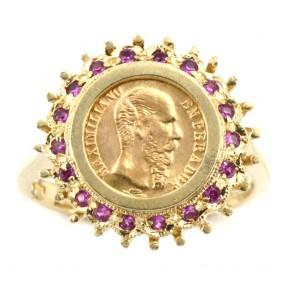 Anello oro con moneta pesos messicano e rubini