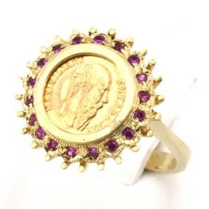Anello oro con moneta pesos messicano e rubini -0.25-0.30 ct; 5,20 gr