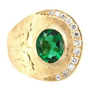 Anello maxi oro, diamanti e pietra di sintesi veerde