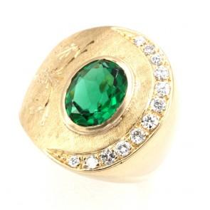 Anello maxi oro, diamanti -0.20-0.25 ct- e pietra di sintesi veerde; 15.3 gr