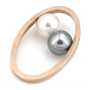 Anello doppia perla - australiana e tahitiana, oro e diamanti