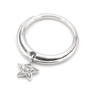 Anello charm stella oro e diamanti