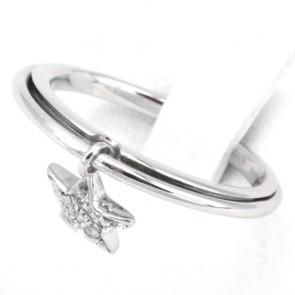 Anello charm stella oro e diamanti -0.05 ct; 3.7 gr