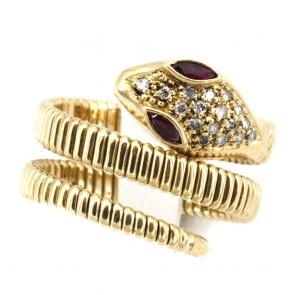 Anello serpente, oro giallo, rubini -0.15 ct- e diamanti