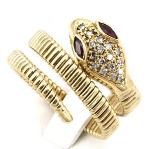 Anello serpente, oro giallo, rubini -0.15 ct- e diamanti - 0.25-0.30 ct; 10.78 gr