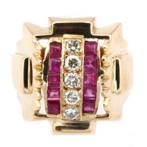Anello stile Decò, autentico, oro giallo, rubini