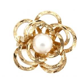 Anello maxi fiore oro, perla