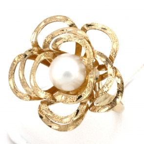 Anello maxi fiore oro, perla - 7 mm; 7.8 gr