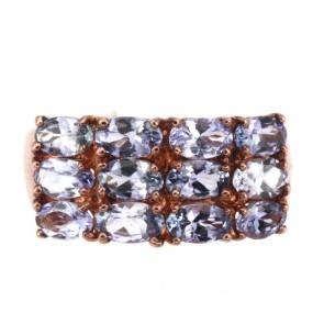 Anello fascia tripla oro e tanzanite -
