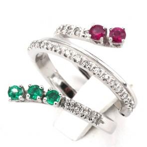Anello contrariè, oro, diamanti - 0.35 ct e pietre di colore (smeraldi e rubini) per 0.35 ct; 9.25 gr