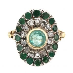 Anello toppa a sella in stile oro, diamanti