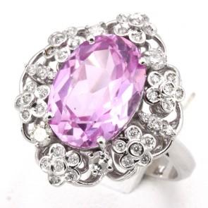 Anello maxi margherita oro, rosa di Francia - 12 ct - e diamanti - 0.92 ct; 9.32 gr