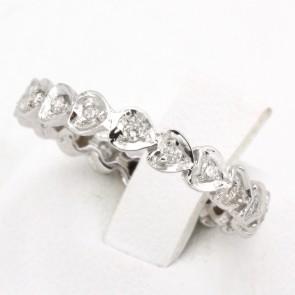 Anello eternel cuoricini oro e diamanti -0.22 ct; 2.59 gr