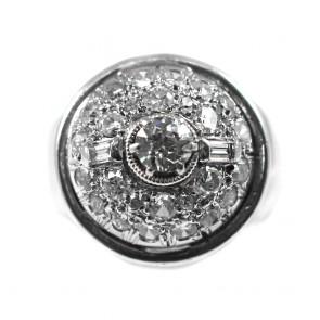 Anello palloncino stile decò oro e diamanti - 1,60-1,75 ct