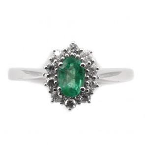 Anello margherita oro, smeraldo e diamanti