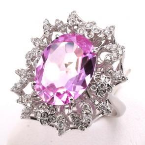 Anello maxi margherita oro, rosa di Francia - 10.85 ct - e diamanti - 1.08 ct; 10.5 gr
