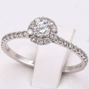 Anello margherita circolare-riviera oro e diamanti -0.52 ct; 1.76 gr