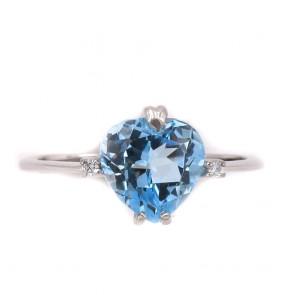 Anello cuore azzurro sintesi, oro e brillanti