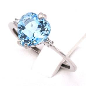 Anello cuore azzurro sintesi, oro e brillanti; 2.23 gr