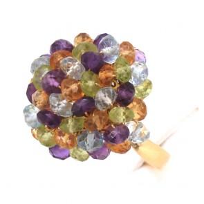 Anello grappolo oro e pietre di colore; 8.86 gr