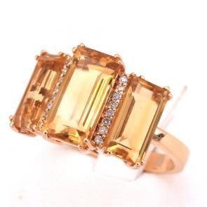 Anello geometrico oro, quarzi citrini e diamanti - 0.06-0.08 ct; 4.97 gr