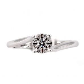 Anello margherita circolare, oro e diamanti