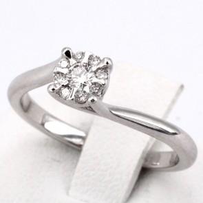 Anello margherita circolare, oro e diamanti -0.20 ct; 3.3 gr