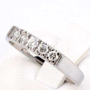 Anello riviera oro e 5 diamanti -0.25 ct; 2.94 gr