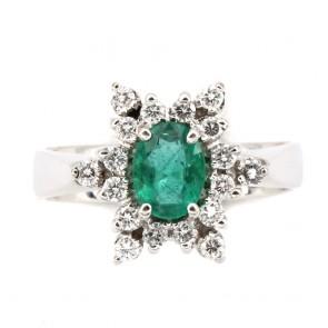 Anello margherita oro, diamanti - 0.40-0.50 ct- e smeraldo