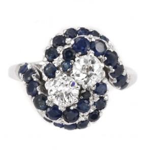 Anello maxi contrariè oro, zaffiri - 1-1.2 ct - e 2 diamanti