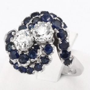 Anello maxi contrariè oro, zaffiri - 1-1.2 ct - e 2 diamanti - 0.90-1.0 ct ; 7.85 gr
