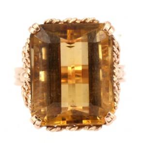 Anello maxi stone oro e quarzo citrino rettangolare