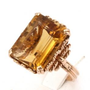 Anello maxi stone oro e quarzo citrino rettangolare; 9 gr