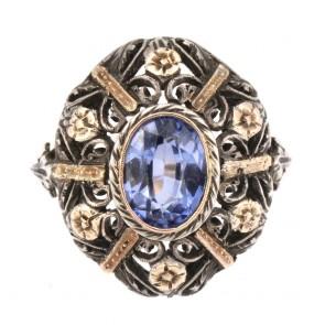 Anello maxi cupola traforata in stile oro, zaffiro