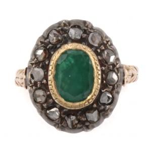 Anello antico a margherita, in stile oro, diamanti